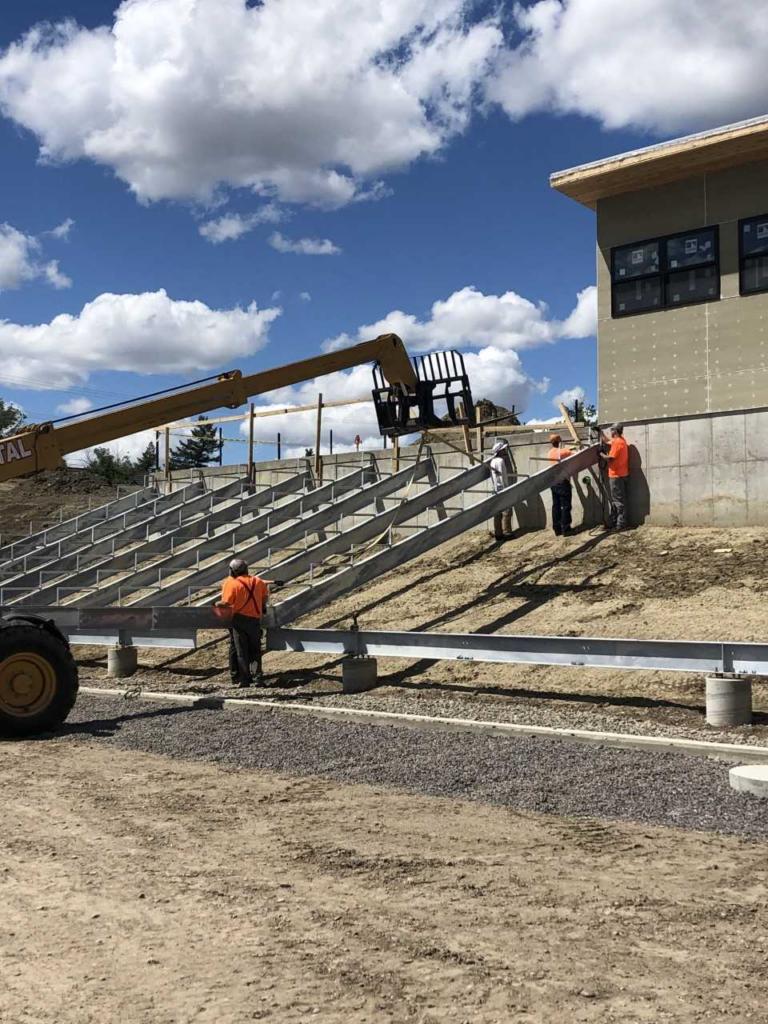 Installing the grandstands, July 2020